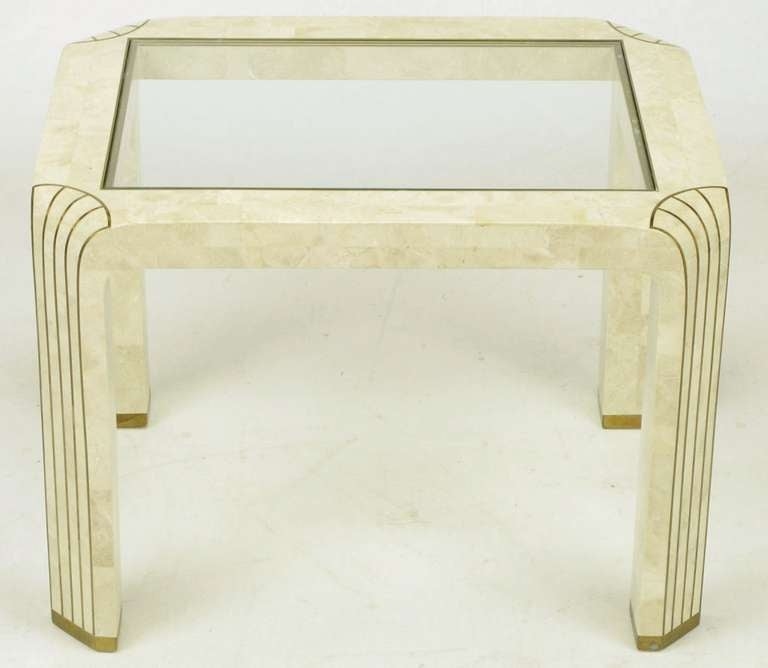 20th Century Pair of Tessellated Fossil Stone and Inlaid Brass Side Tables For Sale