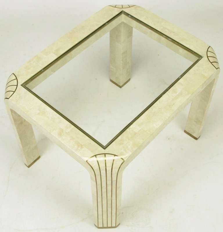Pair of Tessellated Fossil Stone and Inlaid Brass Side Tables For Sale 2