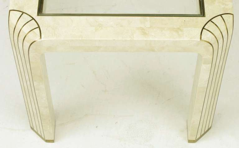 Pair of Tessellated Fossil Stone and Inlaid Brass Side Tables For Sale 3