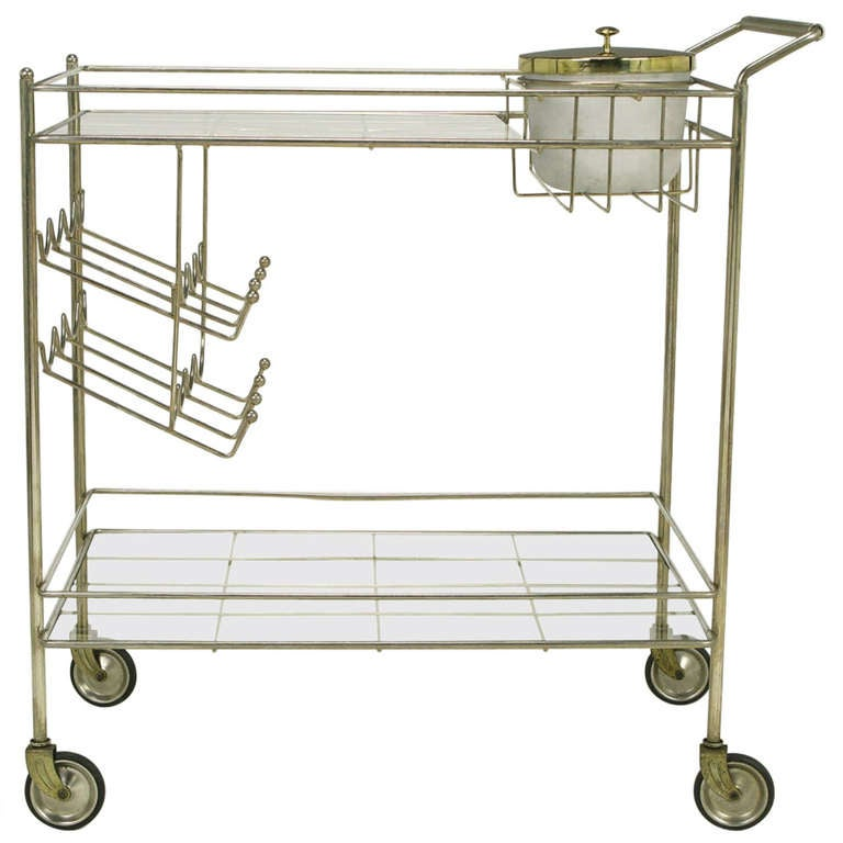 brass bar cart with integral bottle storage and ice bucket