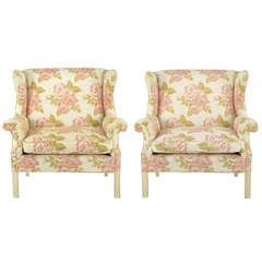 Pair of Overscale Chippendale Wing Chairs in Rose Pattern Fabric
