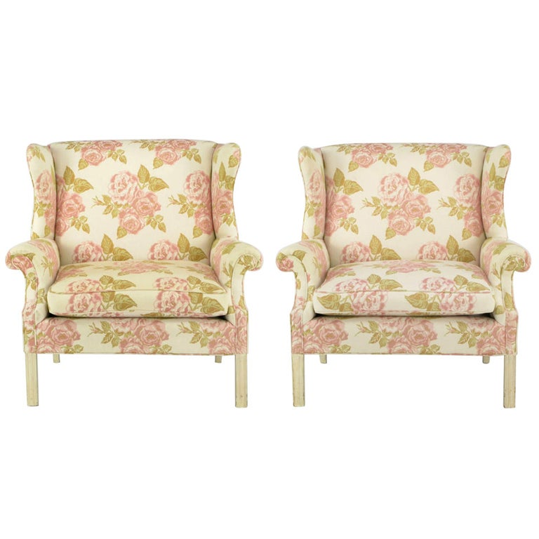 Pair of Overscale Chippendale Wing Chairs in Rose Pattern Fabric For Sale