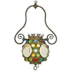 Art Nouveau Brass Pendant Inset With Colored Faceted Glass