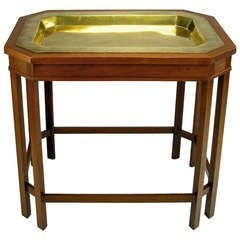 Mahogany Canted Corner Table With Inset Reticulated Brass Tray