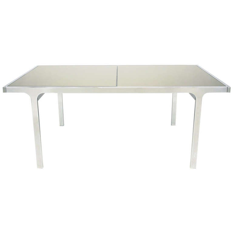 Signed Pierre Cardin Chrome and Mirror Dining Table For Sale