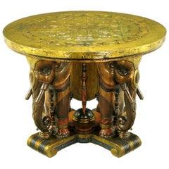 Extraordinary 1920s Polychrome Parcel-Gilt Elephant Centre Table