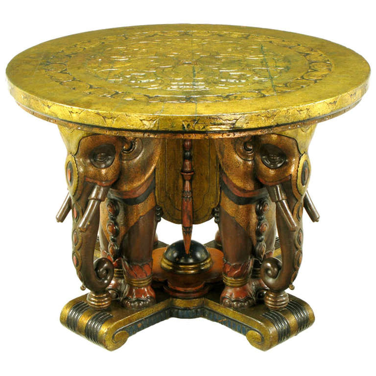 Extraordinary 1920s Polychrome Parcel-Gilt Elephant Centre Table For Sale