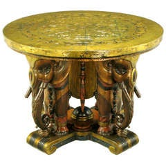 Extraordinary 1920s Polychrome Parcel-Gilt Elephant Centre Table
