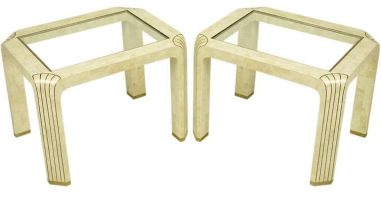 American Pair of Tessellated Fossil Stone and Inlaid Brass Side Tables For Sale