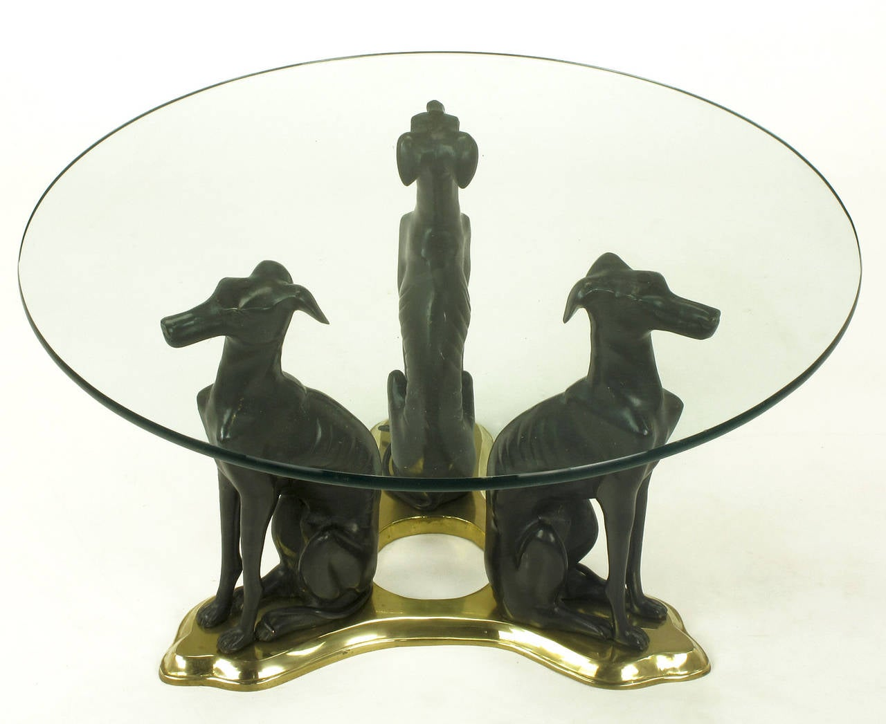 Glass Coffee Table With Trio Of Bronze Italian Greyhounds On Brass Trefoil At 1stdibs