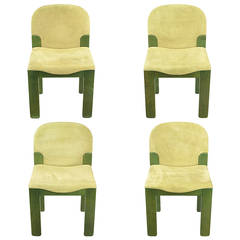 Four Ernesto Radaelli for Saporiti Dining Chairs in Dyed Green Oak and Suede