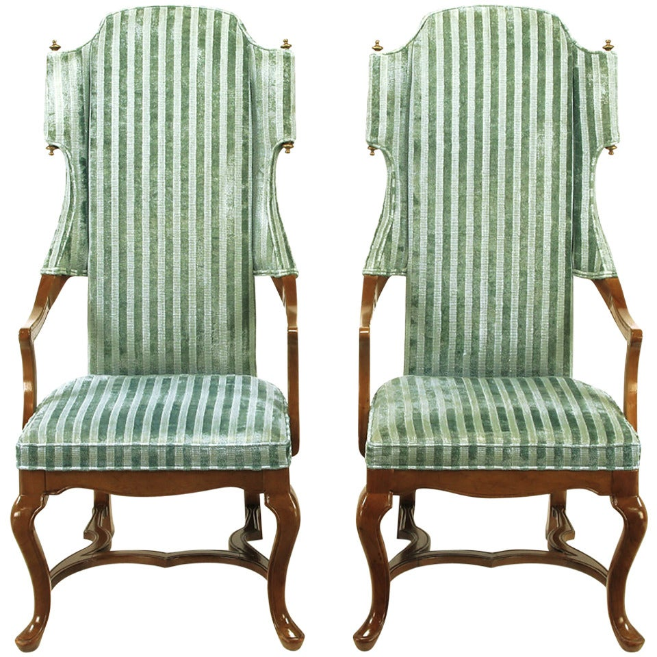Pair of Tall Wing Chairs in Cut Velvet with Brass Finials by Jim Peed