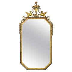 Parcel Gilt Carved Wood and Gesso Empire Mirror