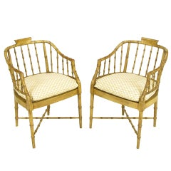 Pair of Baker Glazed Lacquer Bamboo-Form Armchairs