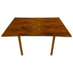 Rare Harold M Schwartz for Romweber Burled Walnut Parabolic Form Dining Table