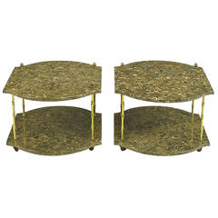 Pair of Italian Marble and Bronze End Tables
