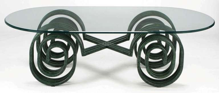 Verdigris Lacquered Elliptical Spirals Coffee Table 2