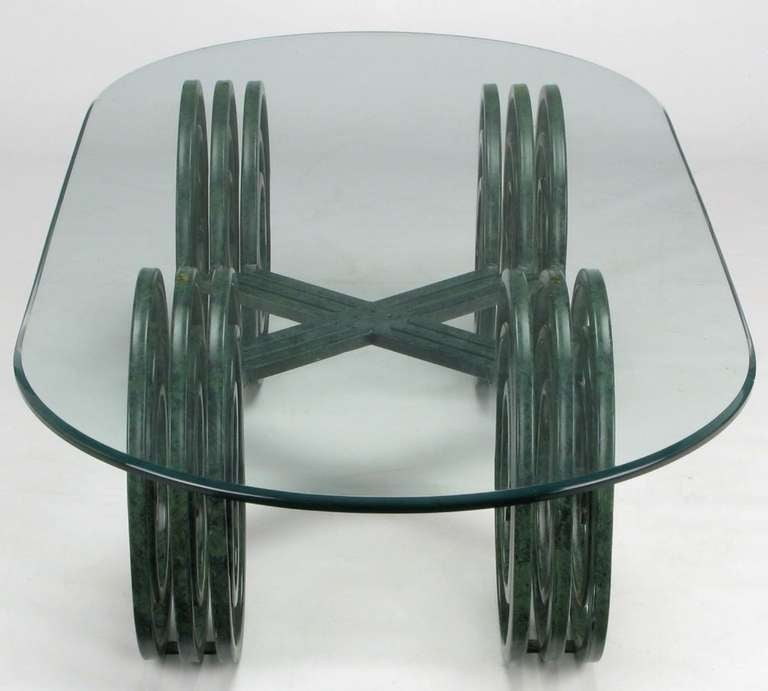 Verdigris Lacquered Elliptical Spirals Coffee Table 4