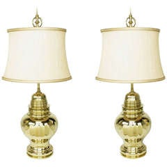 Pair of Vintage Chapman Brass Ginger Jar Table Lamps