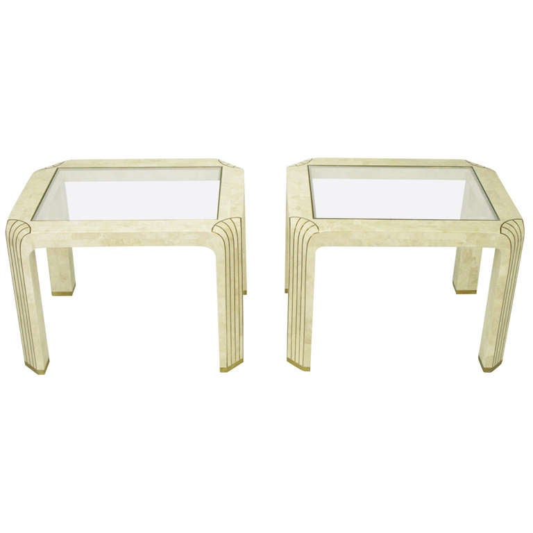 Pair of Tessellated Fossil Stone and Inlaid Brass Side Tables
