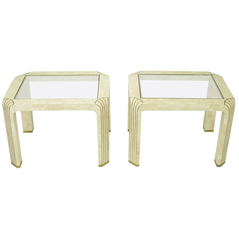 Pair of Tessellated Fossil Stone and Inlaid Brass Side Tables For Sale