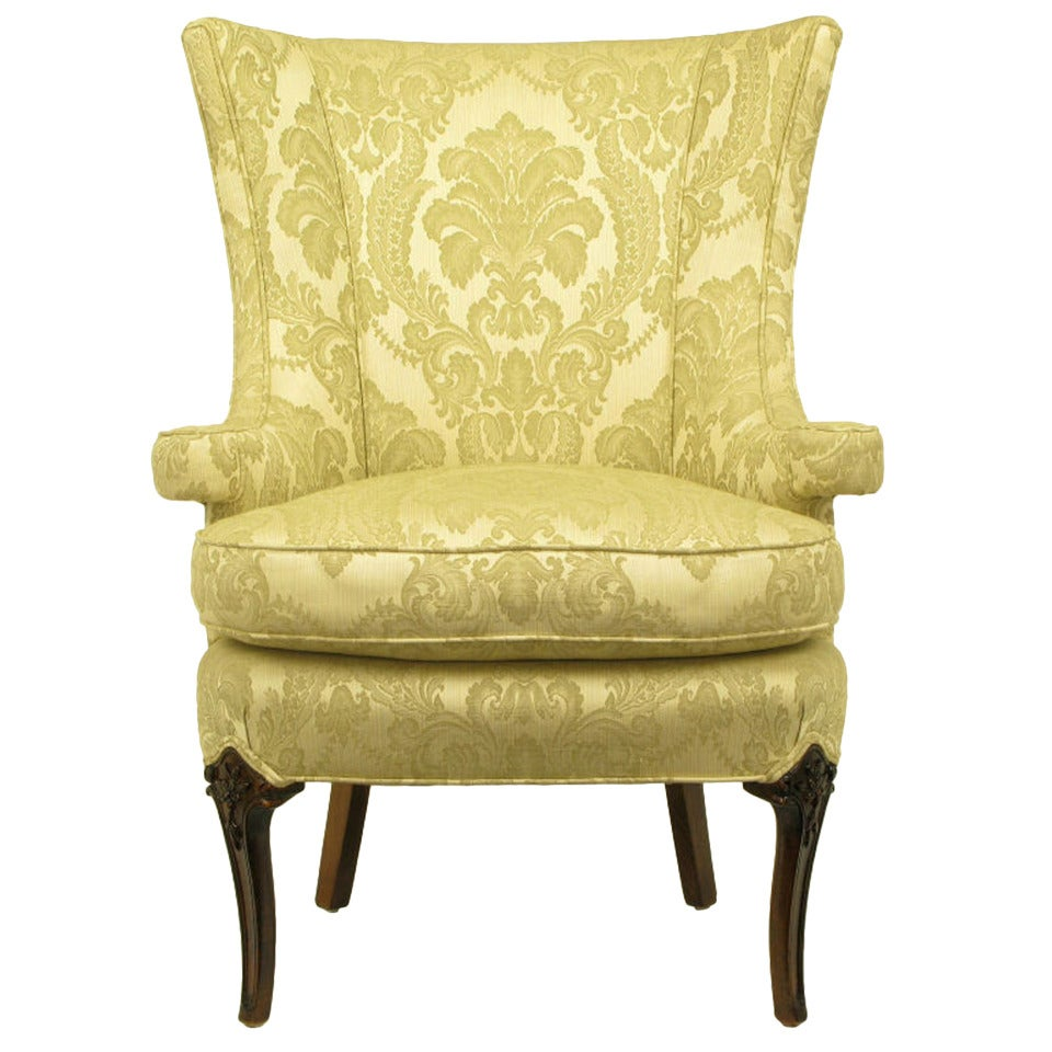 Uncommon 1940s Wingback Chair in Silk and Linen Damask Upholstery