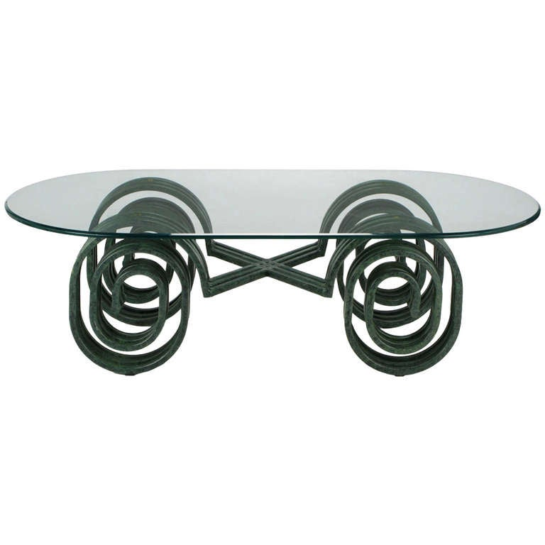 Verdigris Lacquered Elliptical Spirals Coffee Table 1