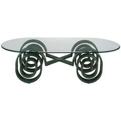 Verdigris Lacquered Elliptical Spirals Coffee Table