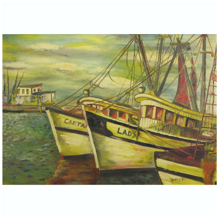 Signed WPA Style Harborscape Oil On Canvas For Sale