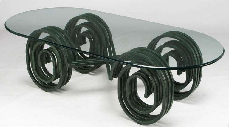 Verdigris Lacquered Elliptical Spirals Coffee Table 3