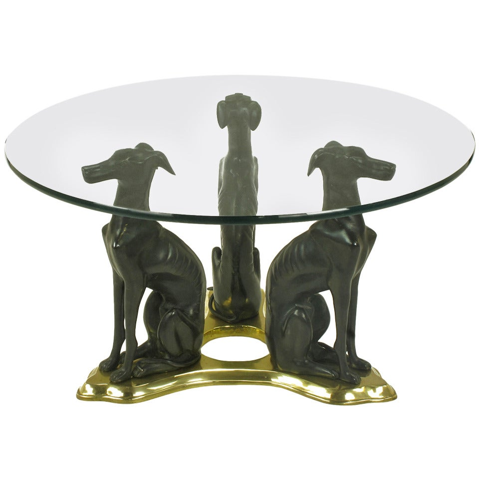 Bronze And Glass Coffee Table: Glass Coffee Table With Trio Of Bronze Italian Greyhounds