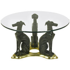 Glass Coffee Table with Trio of Bronze Italian Greyhounds on Brass Trefoil