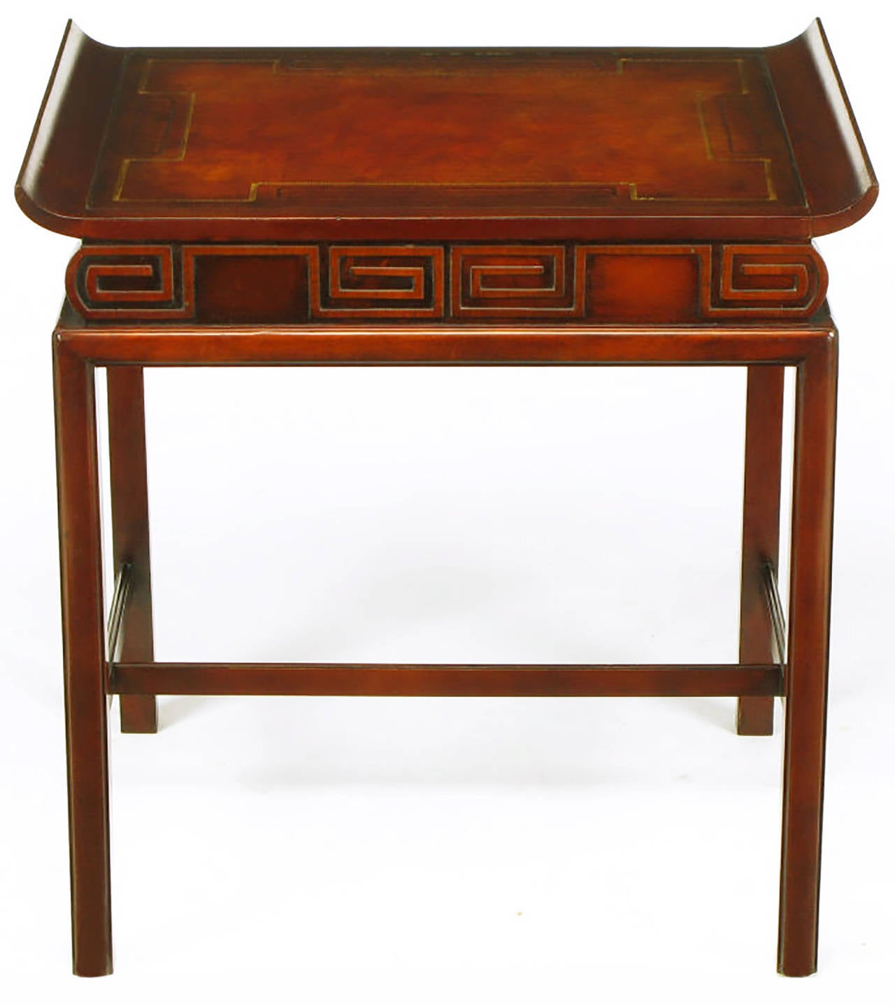 Pair of Curved Mahogany and Leather Top End Tables with Greek Key Reliefs 2