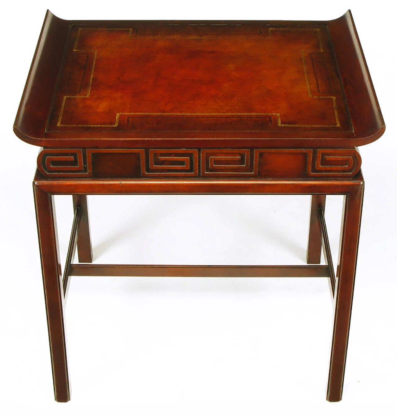 Pair of Curved Mahogany and Leather Top End Tables with Greek Key Reliefs 3