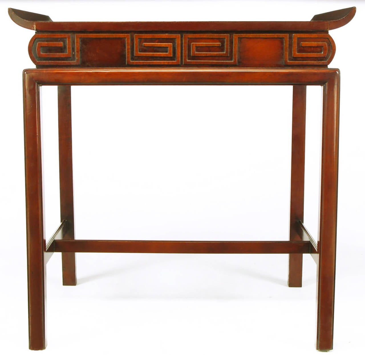 Pair of Curved Mahogany and Leather Top End Tables with Greek Key Reliefs 4