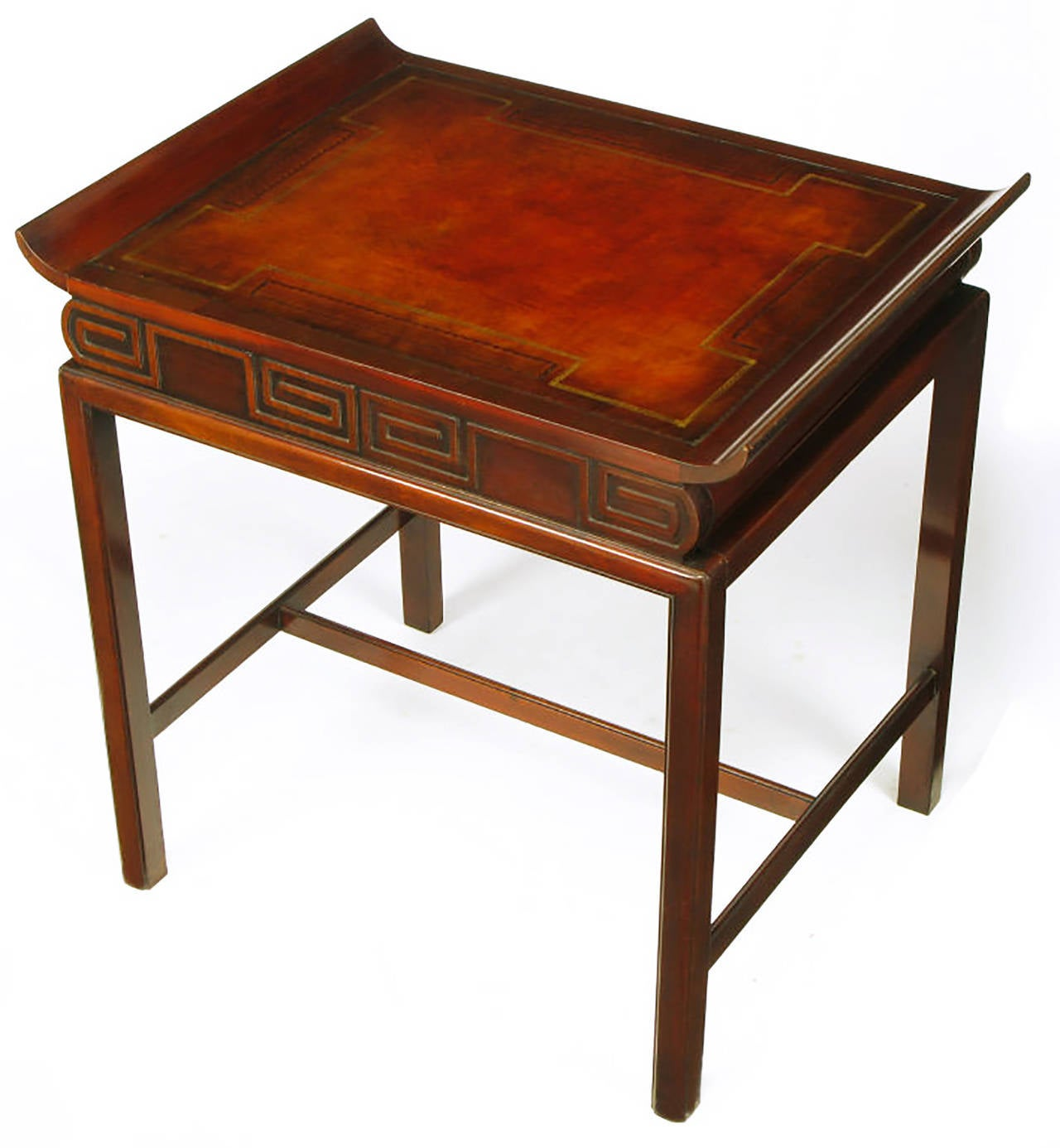 Pair of Curved Mahogany and Leather Top End Tables with Greek Key Reliefs 5