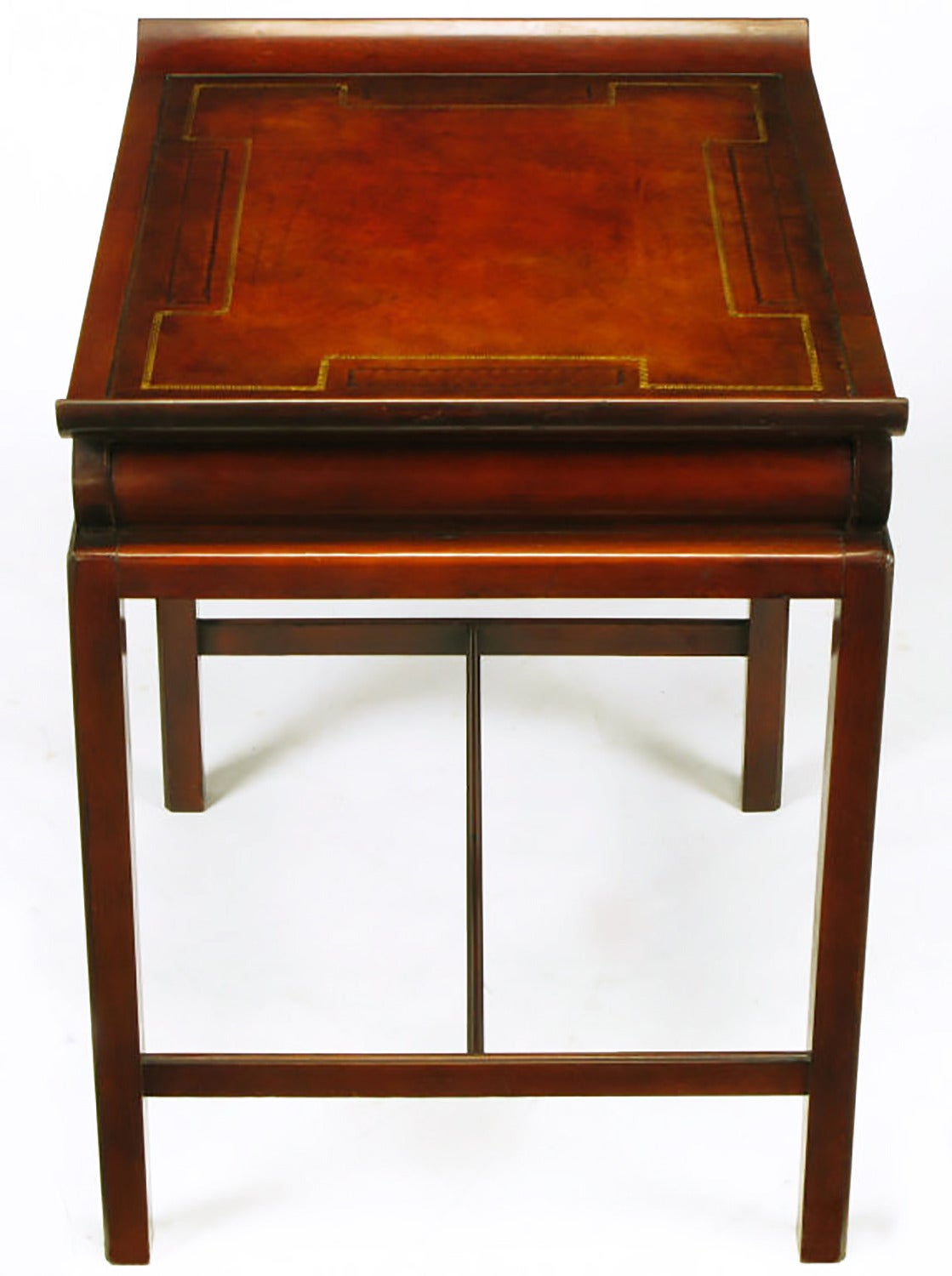 Pair of Curved Mahogany and Leather Top End Tables with Greek Key Reliefs 6