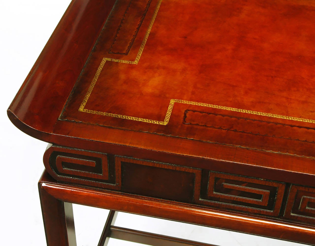 Pair of Curved Mahogany and Leather Top End Tables with Greek Key Reliefs 7