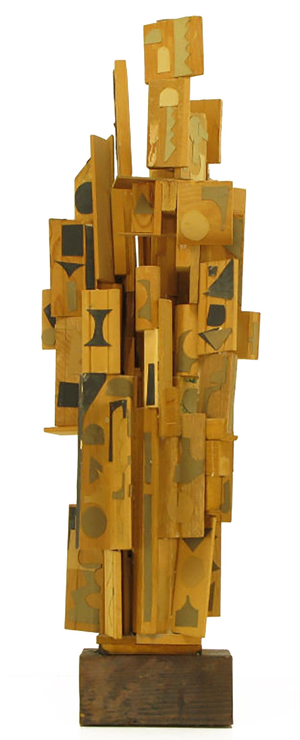 Mexican paper mache vintage judas sculpture folk art at 1stdibs - Outsider Art Wood Sculpture With Geometric Appliques 2