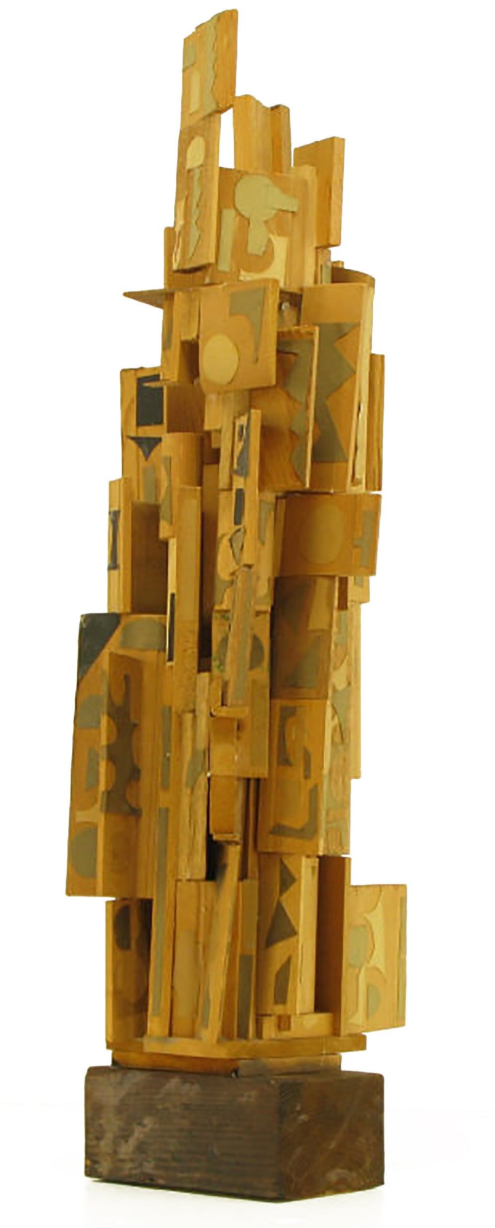 American Outsider Art Wood Sculpture with Geometric Appliques For Sale