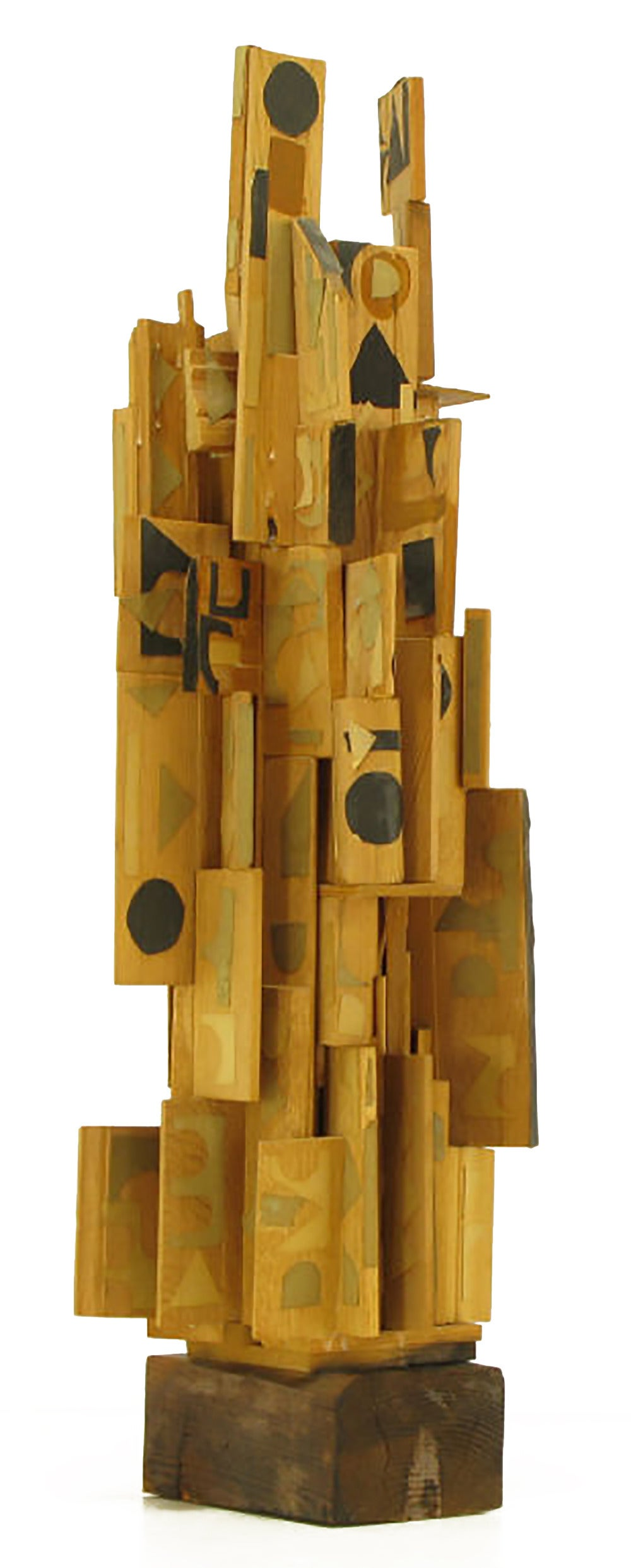 Outsider Art Wood Sculpture with Geometric Appliques In Good Condition For Sale In Chicago, IL