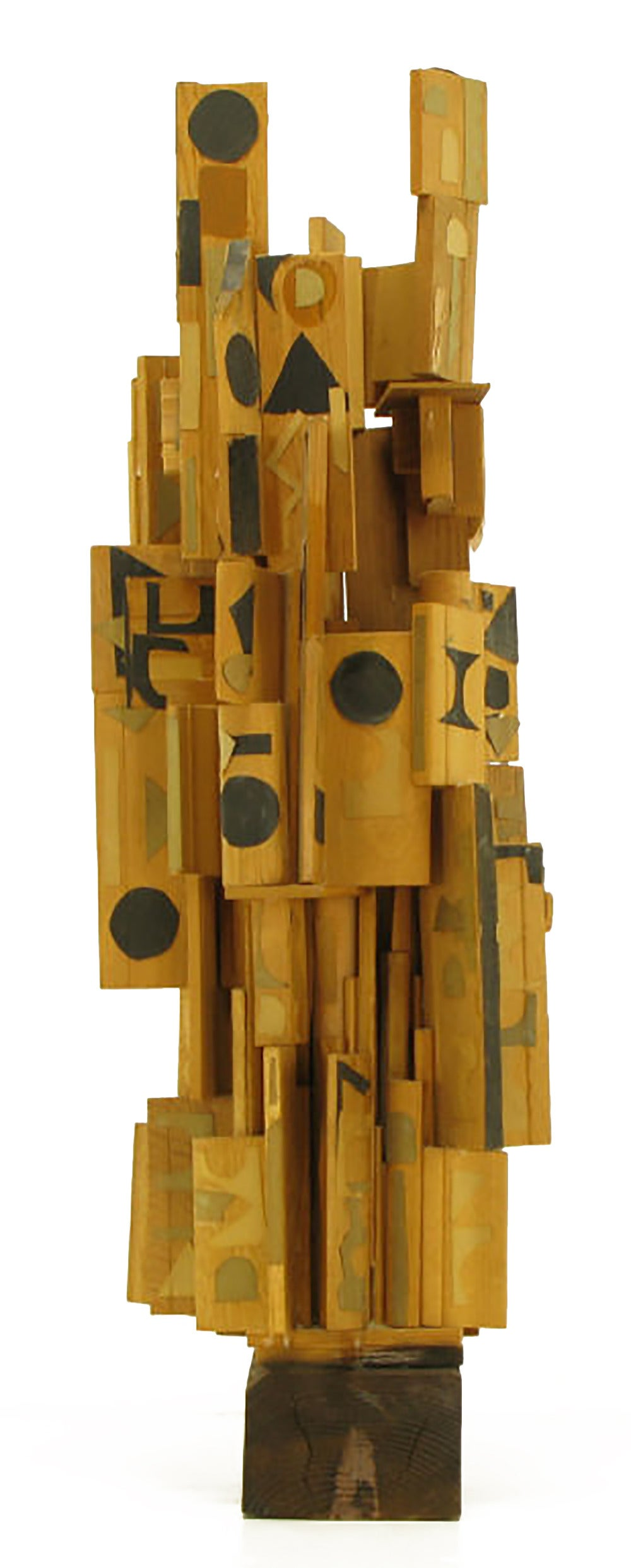 Folk Art Outsider Art Wood Sculpture with Geometric Appliques For Sale