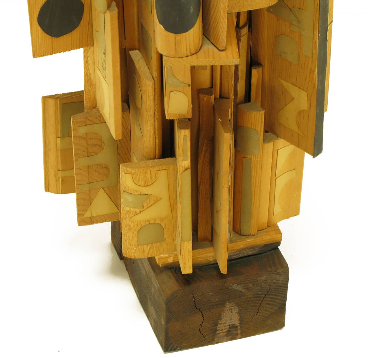 Outsider Art Wood Sculpture with Geometric Appliques For Sale 1