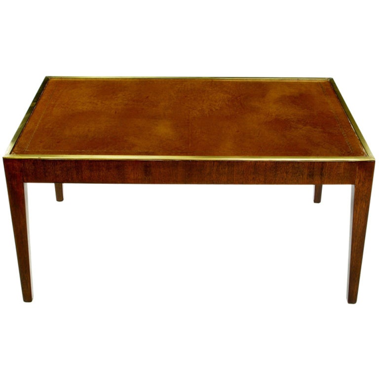 Davidson Ltd. Mahogany, Leather And Brass Coffee Table At