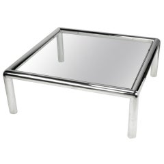 "John Mascheroni ""Tubo"" Polished Aluminum & Glass Coffee Table"