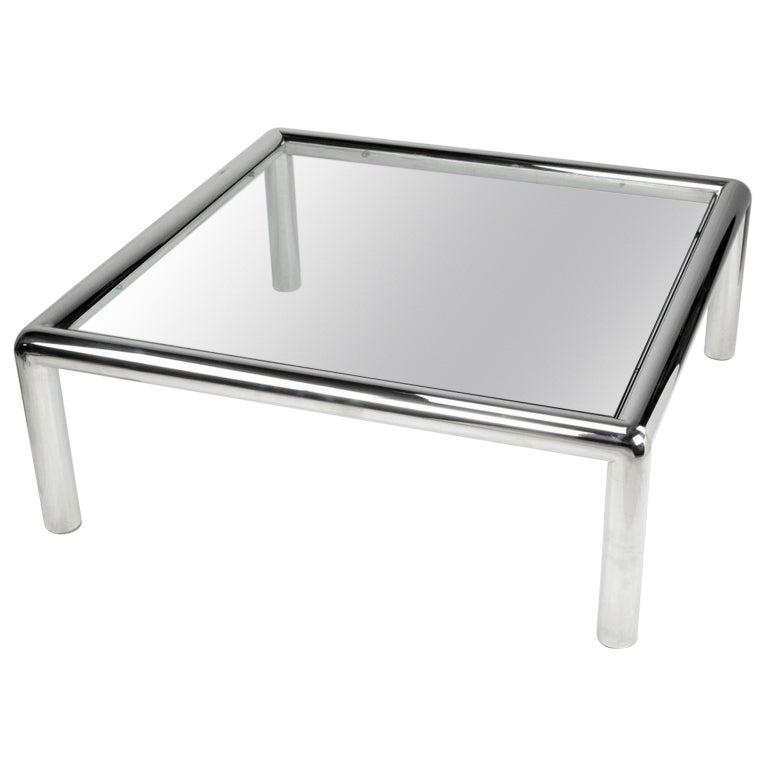 "John Mascheroni ""Tubo"" Polished Aluminum & Glass Coffee Table"