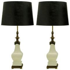 Pair Stiffel White Crackle Glazed Ceramic & Brass Table Lamps