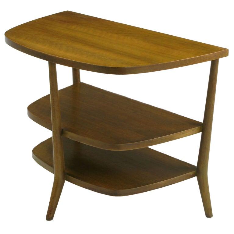 Bertha Schaefer Walnut Demilune Side Table