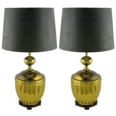 Pair Stiffel Fluted & Studded Brass Urn Table Lamps