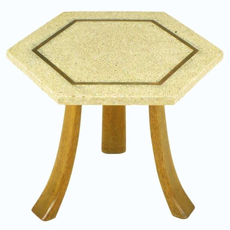 Harvey Probber Hexagonal Mahogany and Terrazzo Marble Side Table 2